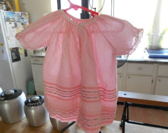Vintage Nannette Pink and White Cotton Infant Dress Size 6-9 mos