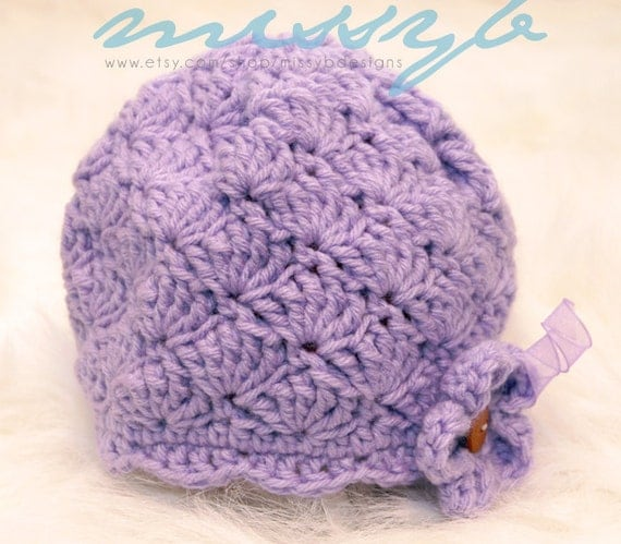 Crochet Baby Hat Shell Pattern : Crochet Baby Hat Pattern Baby Shell and Scallops Hat 3 to