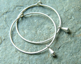 Silver Hoop Earrings, Lightweight Sterling Silver Hoops, Tiny Silver Dangle