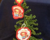 Ornament set made with Upcycled Strawberry Shortcake Bed Sheet (not a licensed product)