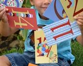 Childrens Art Numbers Illustration Flash Cards 4x6 Wall Art Nursery Decor