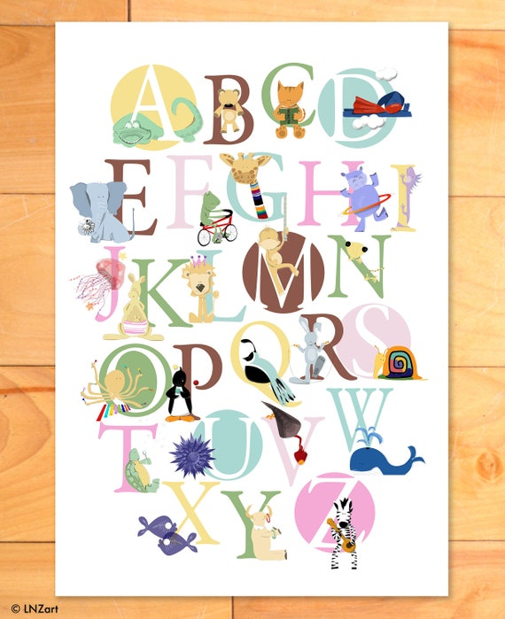 ABC print, Childrens Decor, Alphabet Print, Childrens Art, Nursery Decor, ABCs, Custom, Colors, Animals, Print - choose your own colors