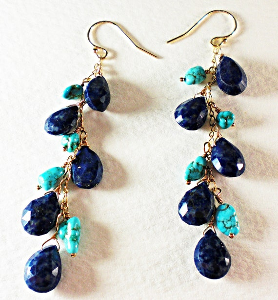 Something Blue- Long Linier Navy Blue Lapis & Turquoise Nugget Dangle Earrings