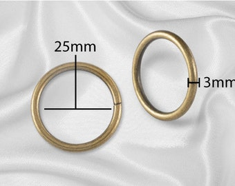 "10pcs - 1"" Metal O Rings Non Welded Antique Brass - Free Shipping (O-RING ORG-112)"