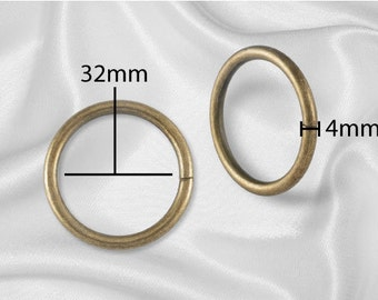 "50pcs - 1 1/4"" Metal O Rings Non Welded Antique Brass -  Free Shipping (O-RING ORG-120)"