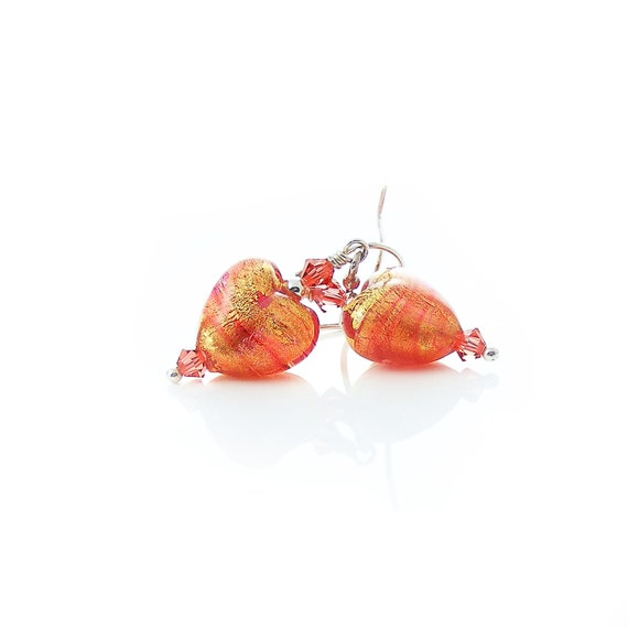 Heart Beaded Earrings, Handcrafted Sterling Silver & Murano Glass Earrings, Handmade Silver Earrings, Red Glass Hearts