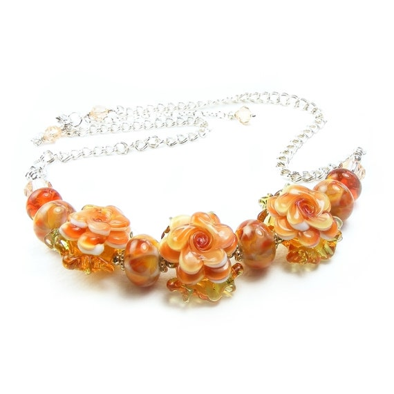 Peach Blossom Statement Necklace, Handcrafted Lampwork Glass & Sterling Silver Necklace, OOAK Nectarine Flowers Floral