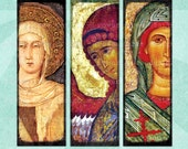 Digital Collage Sheet BYZANTINE ICONS 1x3in Saints Virgin Mary Jesus Angels - no. 0019