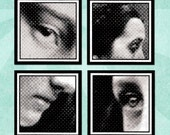 HALFTONE FACES Digital Collage Sheet 1.5in or 1in Squares - no. 0188