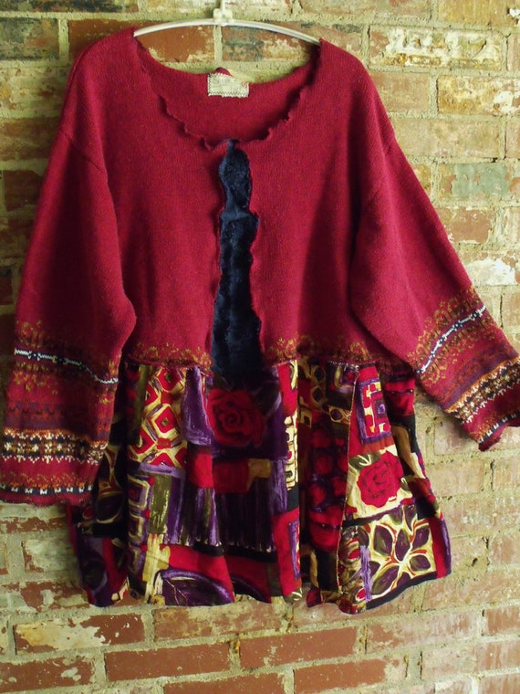 Plus Size Upcycled Sweater Tunic Abstract Vintage Rayon