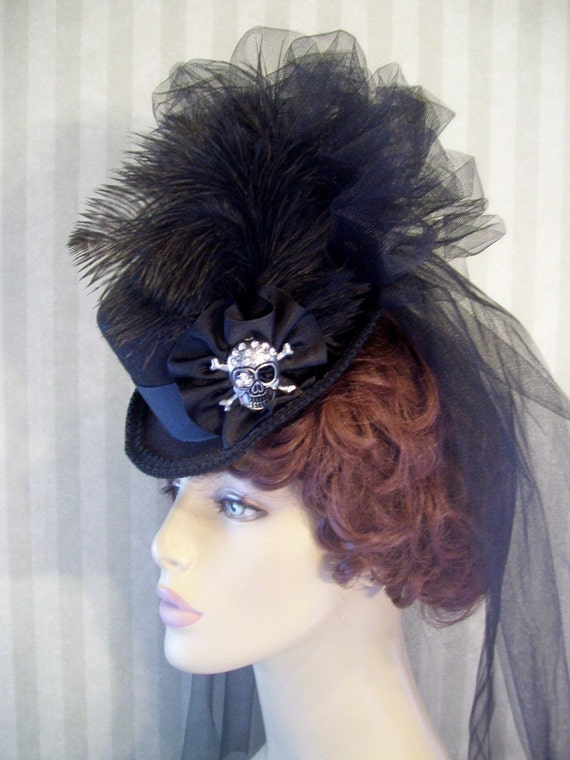 Mini Top Hat Steampunk Hat Halloween Hat Black Mini Top Hat Derby Hat Lolita Hat Neo Victorian Hat CHANGE the JEWEL to Match your EVENT