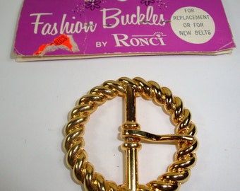 Vintage Belt Buckle, Fashion Buckles by Ronci, Metal, Goldtone, Sewing Supplies, New Old Stock, NOS, No.2  (6943)