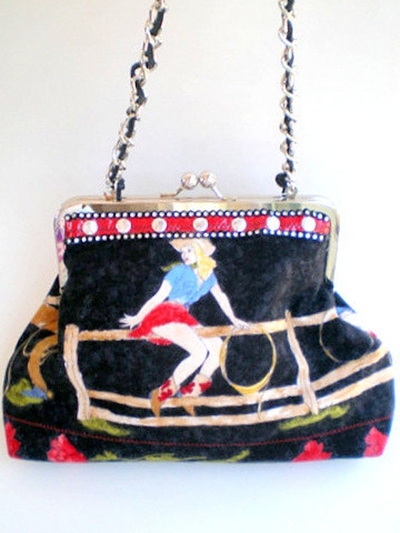 handmade fabric handbag, cowgirl chic, western chic, rockabilly, vintage cowgirl, faux rhinestones, flannel, black and red, red rose