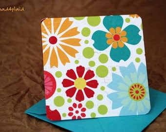 Blank Mini Card Set of 10, Citrus Flower with Contrasting Pattern on the Inside, Bright Aqua Envelopes, mad4plaid