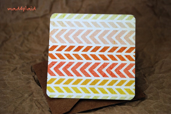 Blank Mini Card Set of 10, Chevron Stripe with Contrasting Pattern on the Inside, Naural Kraft Envelopes, mad4plaid on Etsy