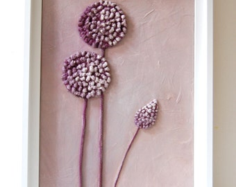 Flower Painting - Lavender Lilac Purple Allium Mixed Media Original Textured Framed Artwork String Art Botanical Painting