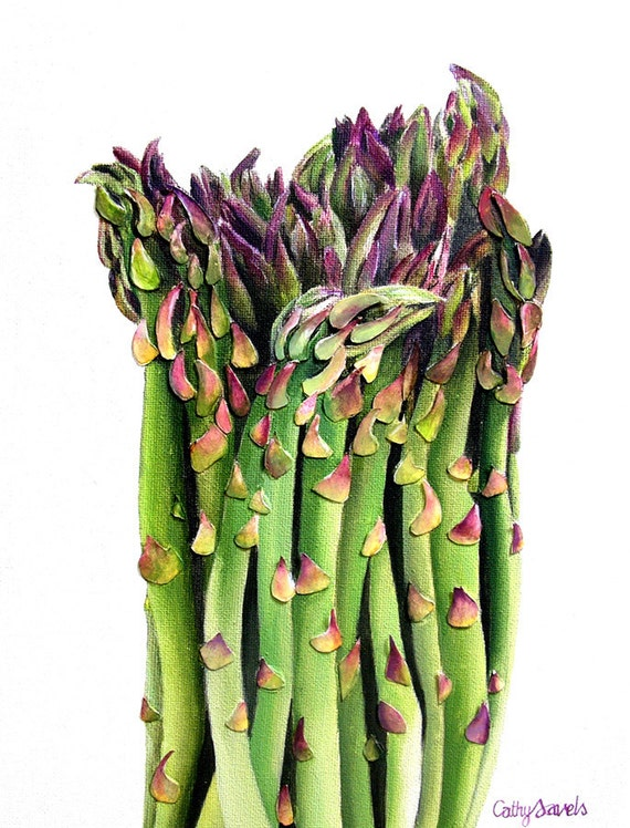 Asparagus Painting - Mixed Media Original - Made to Order