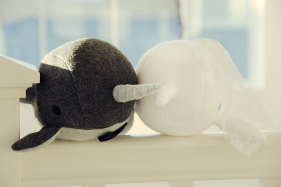 narwhal Wedding Bride and Groom plush toy- Angie & Michael- grey and white soft fleece whale narwal plushie