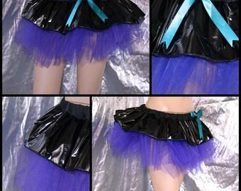 Dark Purple and Black PVC GoGo Mini Skirt adult medium MTCoffinz - Ready to Ship