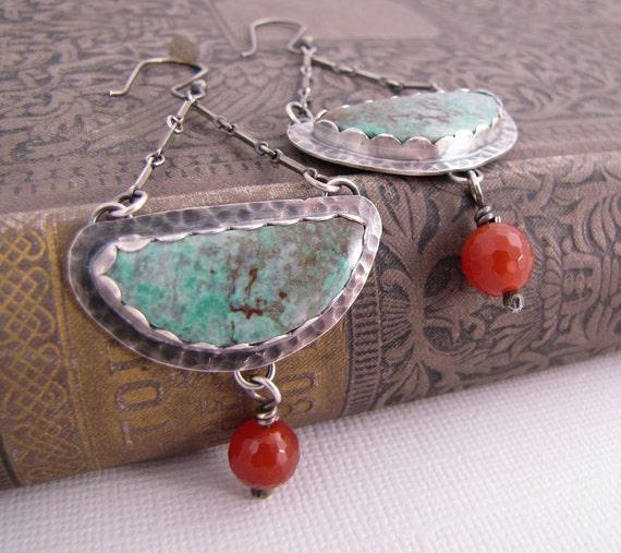 Blue Green Parrot Wing Earrings. Long Swinging Sterling Silver Metalwork Earrings. Rustic Statement Jewelry