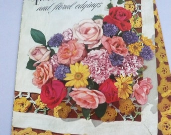 Vintage Crochet and Tatting Pattern Book Floral Insertions and Edgings