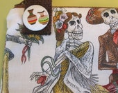 Purse or iPad zippered Bag made with Beautiful Paseo De Los Muertos Skeletons Fabric