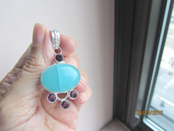 925 blue amethest pendent on chain