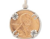 Lucky Penny Holder Charm, Jewelry, Sterling Silver, Pendant, Wear Your Lucky Penny On A Necklace, Findings and Supplies, Accessories, Luck