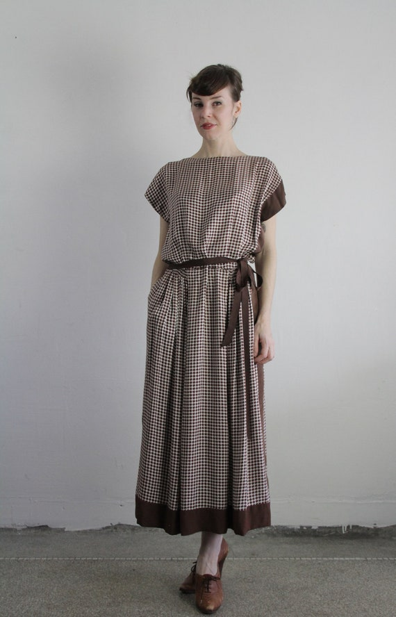 Vintage Grecian Style Dress . Bag Dress . Brown Check Print . 1950s Mid Century