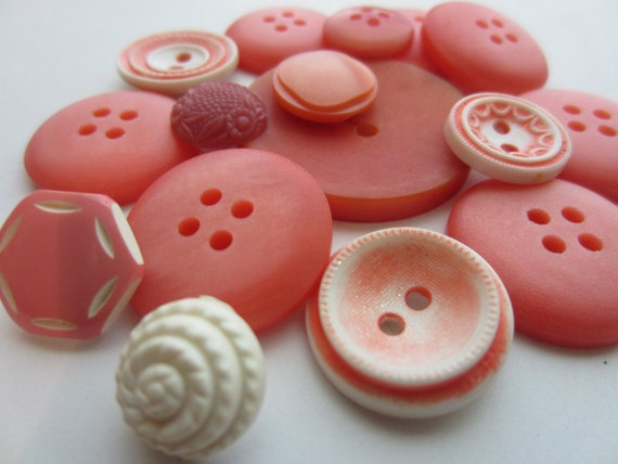 Vintage Buttons - Cottage chic mix of peachy  pinks, old and sweet - 16  total (2167)