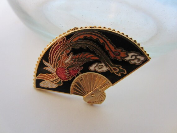 Vintage Buttons -1 large enamel painted metal Asian fan (2203)