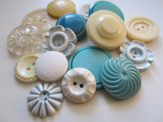 Vintage Buttons - Cottage chic mix of blue green, white and butter yellow - 15 total (3075)