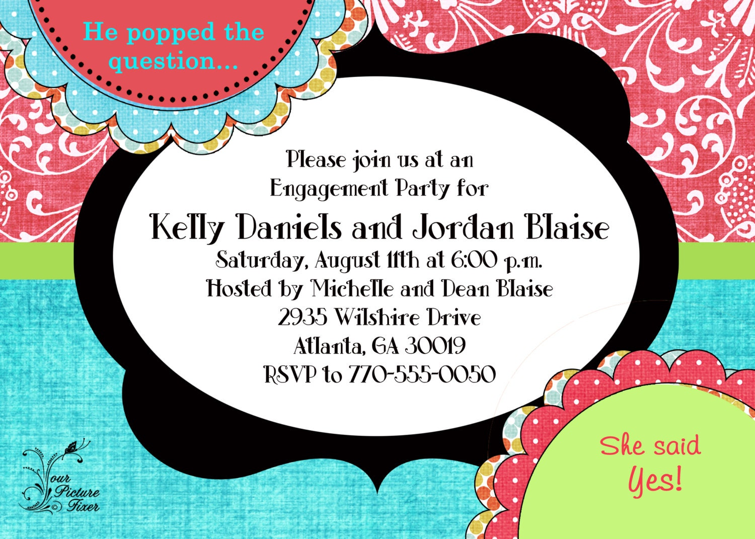 He POPPED the Question Engagement Party Invitation