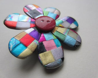Little quilted mosaic posy pin brooch
