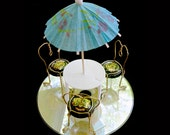 Miniature patio set (upcycled and repurposed mixed media sculpture)
