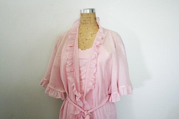 SALE vintage 70s Yves Saint Laurent YSL Romantic Petal Pink Ruffle Robe