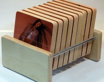 CRYSTAL GAYLE handmade Birch Holder and 9 recycled record sleeve coasters