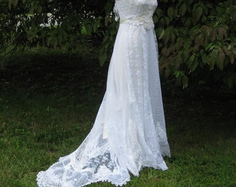 Hippie Lace Collage Gown One of a Kind with train and dangle straps