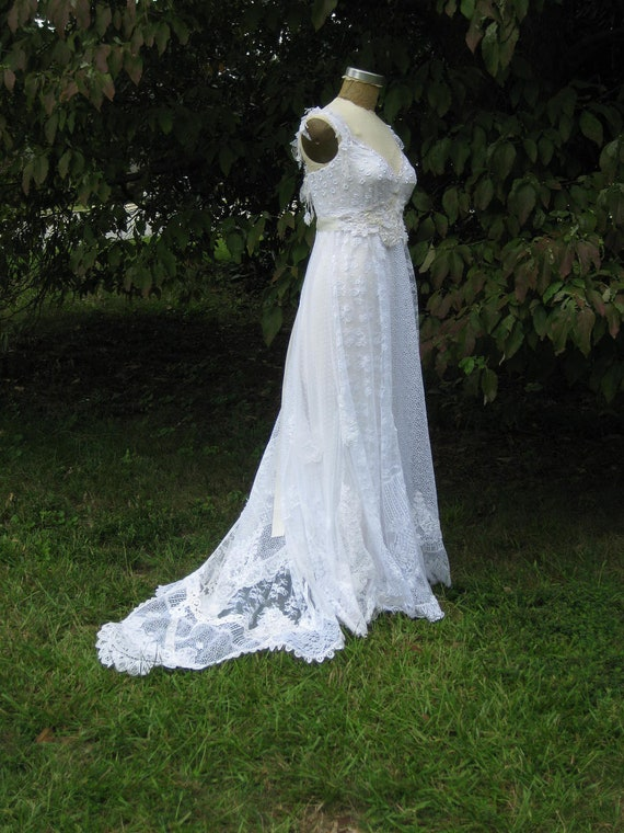 Reserved for Sarah Hippie Lace Collage Gown in White One of a Kind with train and sash on sale