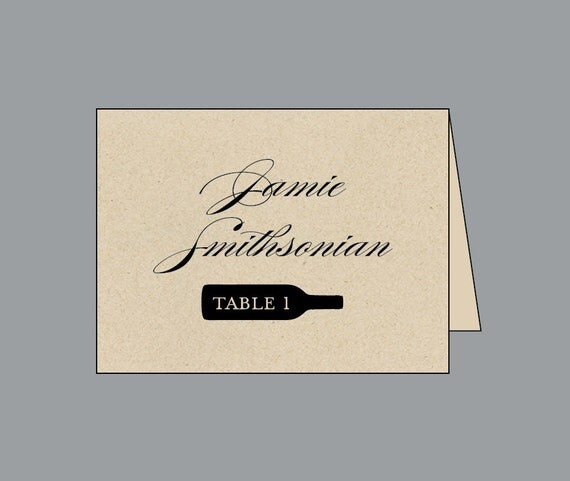 Vintage Antique Edwardian Victorian Vineyard Wine Bottle Rustic Wedding Reception Folded Place Cards Escort Cards