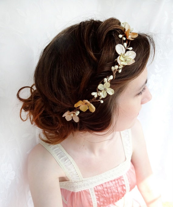 gold hair accessories, champagne hair flower, flower wreath, bridal hair accessories - PERSEPHONE - blush / beige headband, flower girl