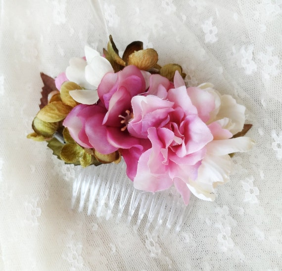 fuschia and blush pink flower hair comb, bridal hair accessory - HEDGEROW - olive green, wedding hair accessories