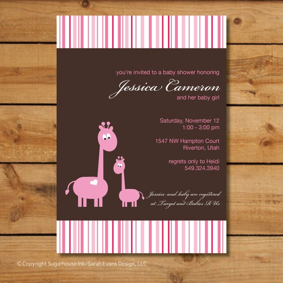 Giraffe Baby Shower Invitations - Pink and Brown Giraffes