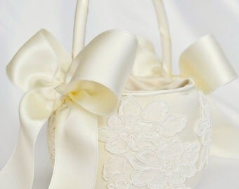 Ivory Flower Girl Basket - Ivory Alencon Lace Flower Girl Basket