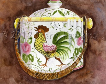 Rooster and Roses Cooke Jar watercolor painting vintage italian cookie jar