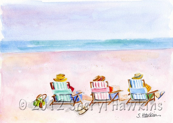 Day at the Beach watercolor painting-  colorful beach chairs beach-fine art print of original watercolor
