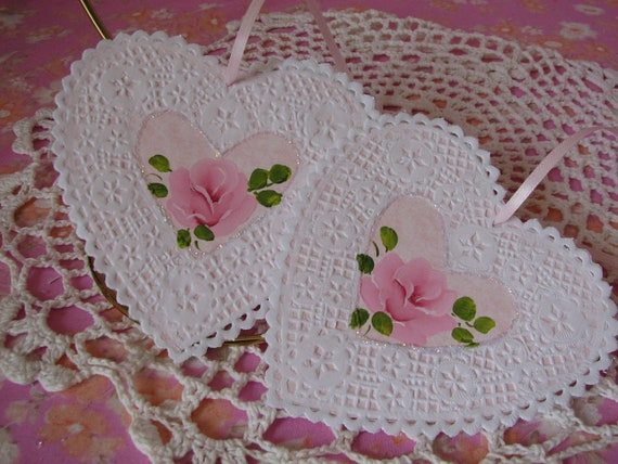 Heart Gift Hang Tags Hand Painted Chic Pink Rose , Glitter