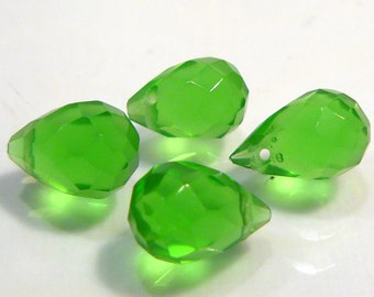 4 Beads...Peridot  Green Quartz Glass Faceted Teardrop Briolette Beads....11x7mm...BB