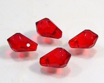 4 Beads....Red Glass Faceted Teardrop  Briolette Beads....9x6mm...BB