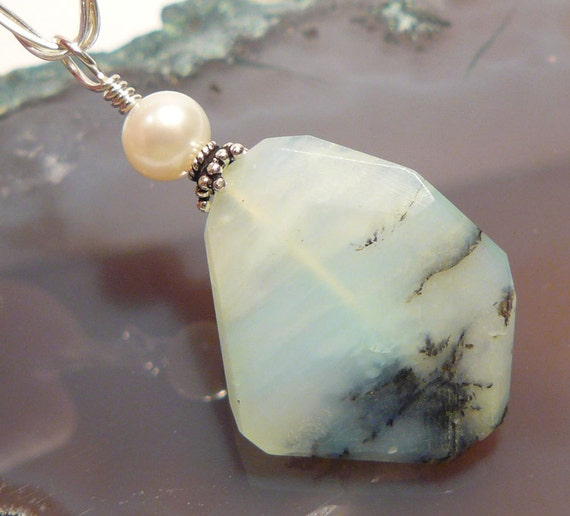 Wire Wrapped  Natural Rustic Peruvian Blue Opal Pearl Gemstone   Pendant....BB